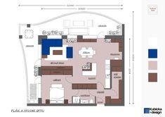 Plán a studie bytu. Realizace 2018. Studios, Floor Plans, Diagram, How To Plan, Design, Style, Swag, Floor Plan Drawing