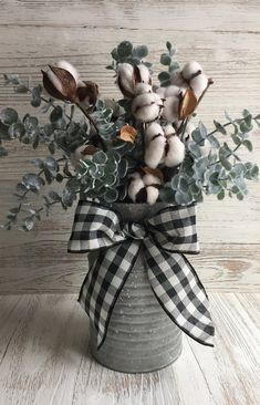 Galvanized Milk Can Arrangement With Christmas Floral Cotton Stems Frosted Eucalyptus and Black and White Buffalo Check Bow by wrongsavannah on Etsy Country Decor, Rustic Decor, Farmhouse Decor, Farmhouse Ideas, Farmhouse Table Centerpieces, Dollar Store Christmas, Christmas Home, Christmas Tables, Nordic Christmas