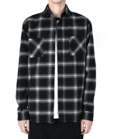 "monument_P Grey checked shirts 95,000KRW Destroyed checked shirts with graphic by Cogito. 1st collection ""Do It Yourself""."