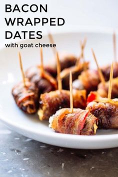 BACON WRAPPED DATES with goat cheese What do we have here? To my hungry eyes, this looks like soft, sweet Medjool dates stuffed with creamy, tangy goat cheese wrapped in salty, smoky bacon and baked to crispy-soft perfection. And stuck with a 'lil