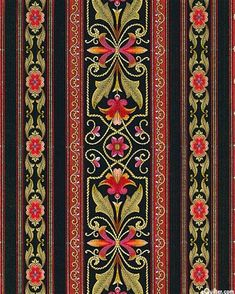 Floral Symmetry Stripe in Black from the 'Bordering on Brilliance II' collection by Jinny Beyer for RJR Fabrics. I'm smitten with these border fabrics. Border Pattern, Border Print, Border Design, Pattern Art, Textile Patterns, Textile Prints, Textile Design, Print Patterns, Hand Embroidery Designs