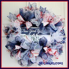 NY Yankees Wreath  MLB Baseball Deco Mesh Wreath by PsychoCreators