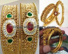 Jewellery Designs: Antique Designer 22ct Gold Bangles