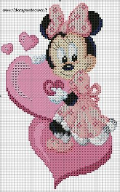 Schema baby minnie punto croce ponto cruz вышивка крестом, в Disney Cross Stitch Patterns, Counted Cross Stitch Patterns, Cross Stitch Charts, Cross Stitch Designs, Cross Stitch Embroidery, Embroidery Patterns, Hand Embroidery, Disney Stitch, Mickey Mouse And Friends