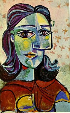 Untitled Pablo Picasso Date: 1939 Style: Surrealism Period: Neoclassicist & Surrealist Period Genre: portrait Media: oil, canvas Dimensions: 38 x 61 cm I like the rough almond shaped eyes created with the white and black lines and the thin flat eyebrows. Kunst Picasso, Picasso Art, Picasso Paintings, Pablo Picasso Quotes, Pablo Picasso Drawings, Georges Braque, Spanish Painters, Spanish Artists, Cubism Art
