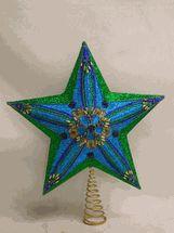 """Kurt Adler tree topper Teal Green Blue Glitter  13.5"""""""