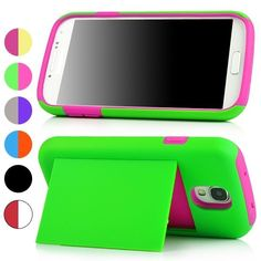 Two tone silicone hard combo stand case with card holder For Samsung Galaxy S4