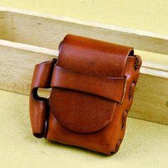 Handmade Leather Mens Cigarette Case with Belt Loop Cool Lighter Holder for Men Custom Leather Belts, Handmade Leather, Cigarette Case With Lighter, Leather Cigarette Case, Cool Lighters, Real Leather, Leather Art, Leather Tooling, Brown Leather