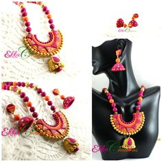 Indian jewelry/Terracotta necklace set/pink and Orange neck set/clay jewelry