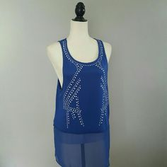 Blue High Low Detailed Top Brand new. Shell 75% rayon 25% polyester. Bottom part is 100% polyester. Fast shipping! Thank you for shopping my closet! Xo xol Tops Tank Tops