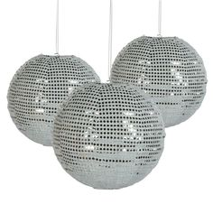 Sequined Silver Hanging Paper Lantern