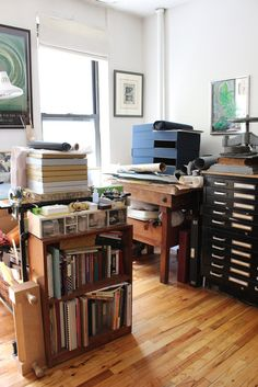 apartment-dwelling bookbinder and conservator's storage area