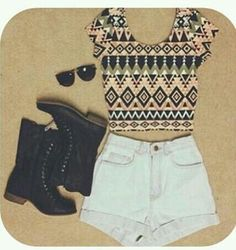 Lobe high waisted shorts with combat boots <3