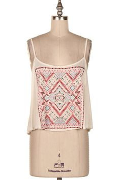 AZTEC EMBROIDERED PRINT CAMI TANK   #3N-T2196