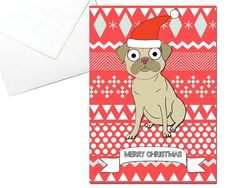 Merry Christmas Pug Card