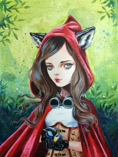 Steampunk Red Riding Hood - by Julie Filipenko Red Ridding Hood, Charles Perrault, Dibujos Tattoo, She Wolf, Fairytale Art, Steampunk Costume, Lowbrow Art, Red Hood, Pop Surrealism