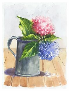 Hortensias / hydrangeas .Watercolor By Isabel MariaSG on Arches paper 300 grs.