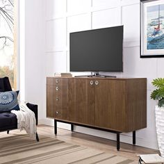 Brimming with storage options, the Modway Delegation Buffet Stand – Walnut will lend mid-century flair to your space. This versatile buffet. Flat Tv Stands, Flat Screen Tv Stand, Tv Stand Sideboard, Sideboard Cabinet, Home Decor Furniture, Furniture Deals, Two Panel Doors, Traditional Cabinets, Modern Bookcase