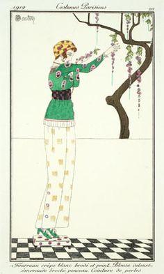 Charles Martin (French, 1884-1934). Plate 20. Fourreau crêpe blanc brodé et peint. Blouse velours émeraude broché ponceau. Ceinture de perles 1912