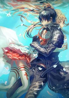 Yuuki Asuna and Kirito (Kirigaya Kazuto) - Sword Art Online Kirito Asuna, Kirito Sword, Kirito Kirigaya, Kpop Anime, Manga Anime, Anime Angel, Arte Online, Online Art, Sao Online