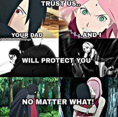 Sarada, your mom and dad will always love and protect you ❤️❤️❤️ Sasuke and Sakura's bond