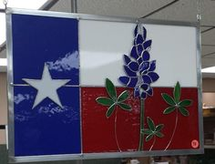 TEXAS and Bluebonnets sun catcher Stained Glass Designs, Stained Glass Panels, Stained Glass Patterns, Texas Crafts, Only In Texas, Texas Forever, Texas Bluebonnets, Loving Texas, Texas Pride