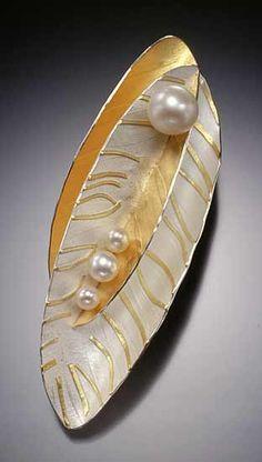 Double Leaf Pin: Christine MacKellar: Gold, Silver & Pearl Pin - Artful Home