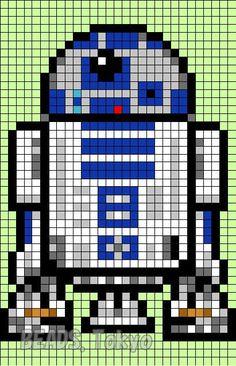 R2D2 Star Wars  Perler Bead Pattern - BEADS.Tokyo: