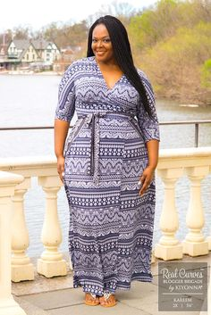 """Blogger Kareem (5'6"""" and a size 2x) of BigBellaDonna.com shows off the elegant styling of our versatile, plus size Moroccan Maxi Wrap Dress. For more made in the USA style inspiration, visit www.kiyonna.com. #kiyonnaplusyou"""