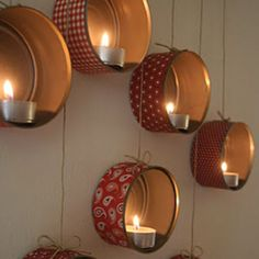 DIY tin can wall candle sconces. Such a stunning result or very little effort and materials. Original post is in Hungarian but the photos are clear and explanatory.