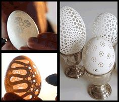 maybe I'll try this. Not just for Easter - Beautiful year round, even.  Use a dremel on blown eggs and drill away.