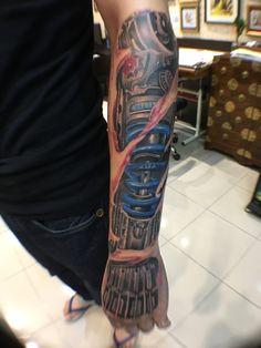 Mechanical tattoo  Machine arm in progress by Michael Chan @hkinkt2