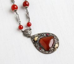 Vintage Art Deco Red Glass Necklace  Antique by MaejeanVintage, $140.00