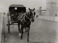 Maurice van Hoven met sjees op de Maasbrug +/- 1930