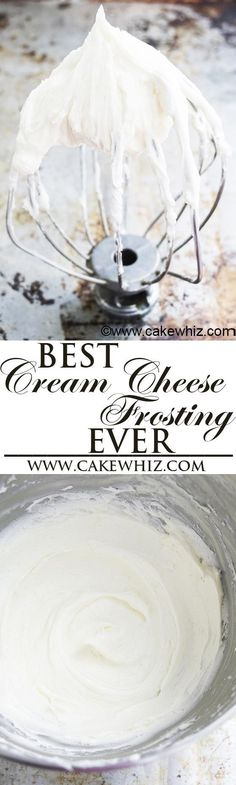 The best CREAM CHEESE FROSTING recipe for piping cupcakes and cake decorating, hands down! This easy to make stable cream cheese icing is creamy, fluffy and not runny! From cakewhiz.com