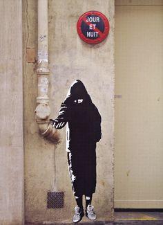 "Blek le Rat - ""Beggar"" (Paris, 2005)    From Blek le Rat - Getting Through the Walls."