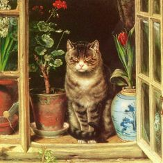 "art-nimals: ""Ralph Hedley (1848 - 1913), Cat in a cottage window """