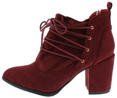 HOPE WINE SLOUCH LACE UP CHUNKY BLOCK HEEL ANKLE BOOT ONLY $14.88