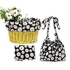 This awesome Love, Daisy Bicycle basket liner is the ultimate cruiser bike accessory. This original bike basket liner is all weather friendly, reversible and crafted in nylon rip-stop material with du