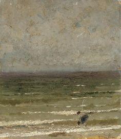 Edoardo Dalbono (Italian, 1841-1915), Marina. Oil on board. Lillith's Place