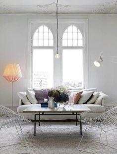 Le Fashion Blog A Fashionable Home Neutral Chic In Malmo Sweden Nina Bergsten Via Residence Living Room White Slipcover Sofa White Wire Mesh...