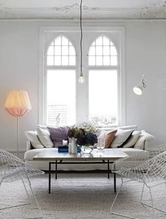 Le Fashion Blog A Fashionable Home Neutral Chic In Malmo Sweden Nina Bergsten Via Residence Living Room White Slipcover Sofa White Wire Mesh...