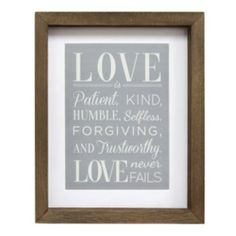 "Stratton Home Decor ""Love"" Framed Wall Art"
