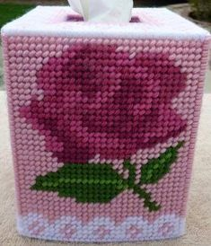 LARGE SHADED ROSE Tissue Box Cover Great Mothers Day Gift Needlepoint on Plastic Canvas is part of Canvas crafts For Mom items outdoors for proper ventilation If you do get stains on your projec - Plastic Canvas Coasters, Plastic Canvas Ornaments, Plastic Canvas Tissue Boxes, Plastic Canvas Crafts, Plastic Canvas Patterns, Tissue Box Crafts, Great Mothers Day Gifts, Tissue Box Covers, Yarn Over