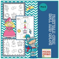 Free Fairytale Cube Roll and Color ~ Preschool Printables