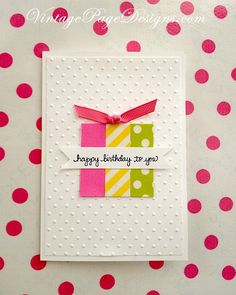 Super simple handmade birthday card!  Three pieces of washi tape and a simple knotted ribbon make a quick card.  Or use your paper scraps!