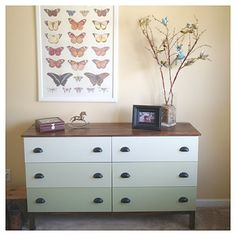 Ikea TARVA dresser: painted in ombre shades of green, fitted with new hardware