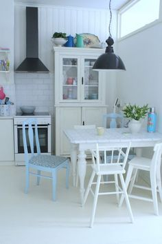 White painted table, oilcloth covered top. The perfect solution for our kitchen table.