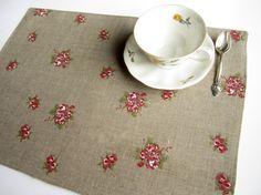 Linen roses placemat linen placemat table placemat by LinenPearls, $15.00