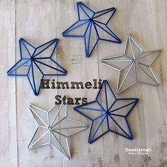 Himmeli Patriotic Stars Wreath or Garland! Great swag of stars for a little patriotic decor! Straw Art, Diy Straw, Plastic Straw Crafts, Diy And Crafts, Craft Projects, Crafts For Kids, Arts And Crafts, July Crafts, Patriotic Crafts